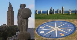 The statue of the Celtic king Breoghain, the Compass Rose of the Celtic Nations, and the standing stones symbolising the Atlantic Megalithic Culture