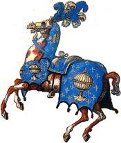 Caballo engalonado con la insignia nacional del Reino de Galicia, Lienzo del Funeral de Carlos V, 1558