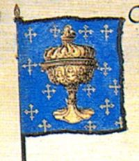 Flag of the Kingdom of Galicia at the funeral of Emperor Charles V, by Jan and Lucas van Doetecum, 1559
