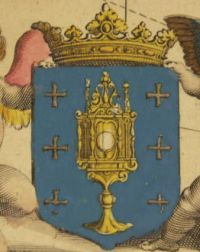 Holy Grail in Map 'Gallaecia Regnum', by Fernando Ojea, 17th century