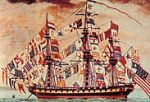 Naval Flag: golden Grail over white field flown by a USA frigate, 18th century