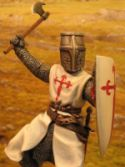 Mediaeval knight dressed in an outfit with the Cross of St James of Compostela