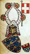 One of the first depictions of the Dannebrog, Denmark's National Flag, Gelre Armorial, 14th century